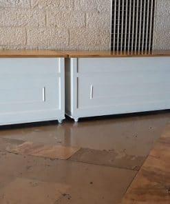 בוצ'ר עץ טבעי חצאית לבן עם אפשרות לגלגלים